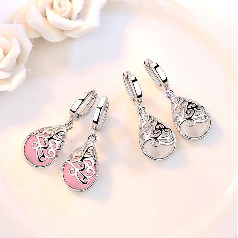 Женские розовые/белые серьги в виде капель с опалом, Женские Ювелирные изделия, свадебные серьги, модные очаровательные индивидуальные серьги, подарок для девушки