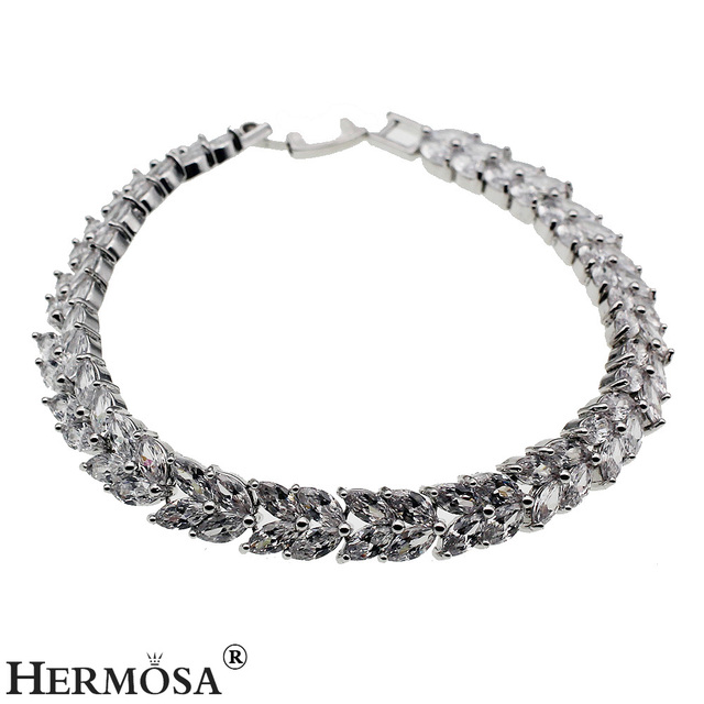 Pretty Shiny White Leaf Hermosa Jewelry Fashion Silver Bracelet 17cm