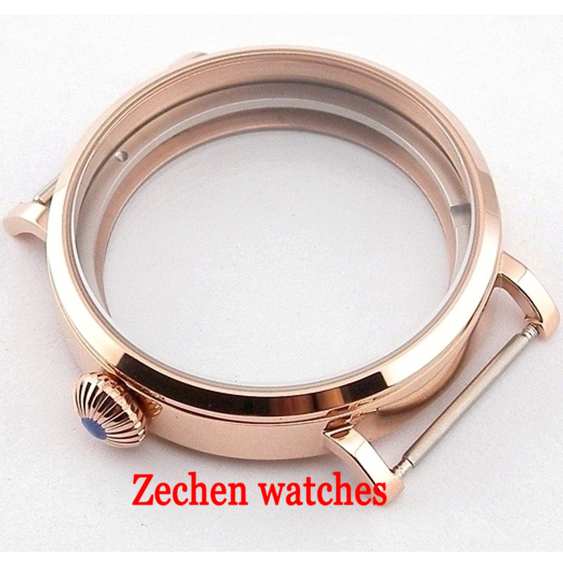 46mm Rose gold 316L Stainless Steel case fit ETA 6497 6498 Seagull st36 Movement watch case цена и фото