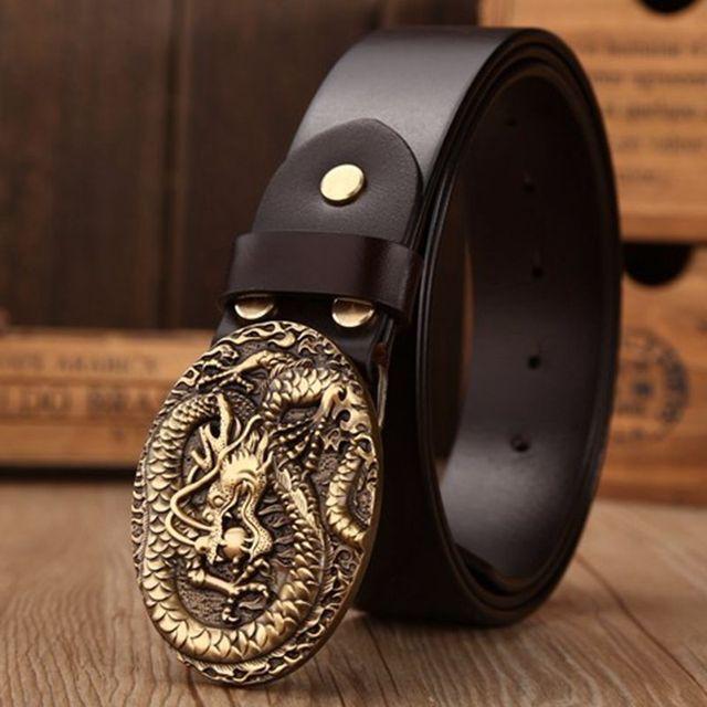 Marque de luxe en laiton massif dragon elliptique boucle pleine fleur en cuir  ceintures hommes ceinture 6fd291e1ca4