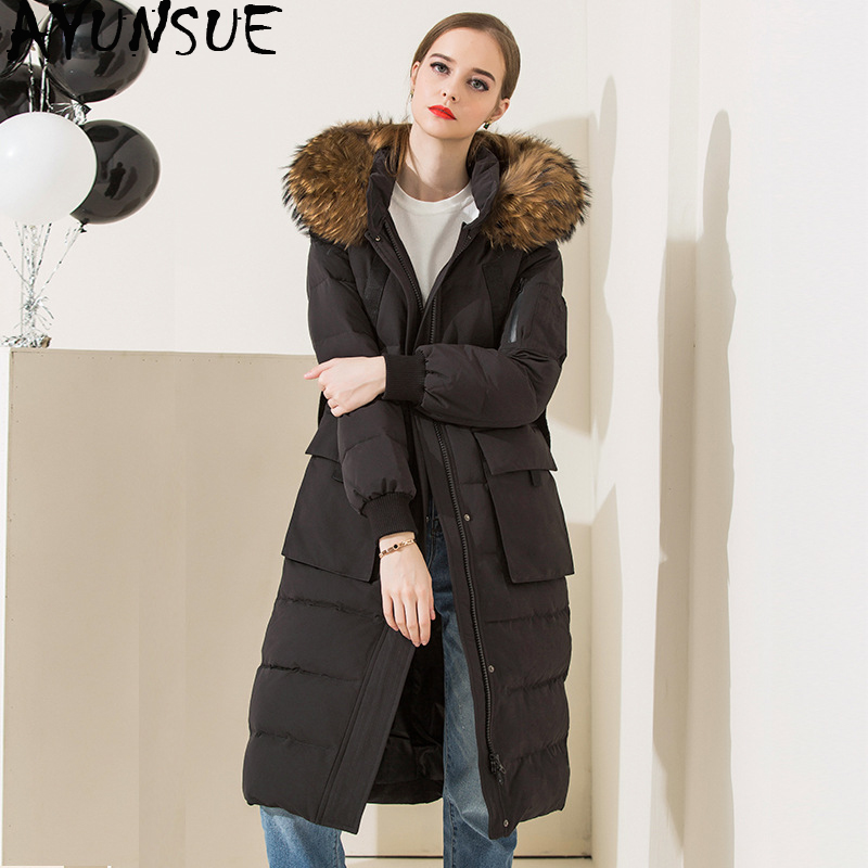 f94bf4bf2ed7 AYUNSUE White Goose Down Jacket Women Real Racoon Fur Collar Long Coat  Female Luxury Jackets with