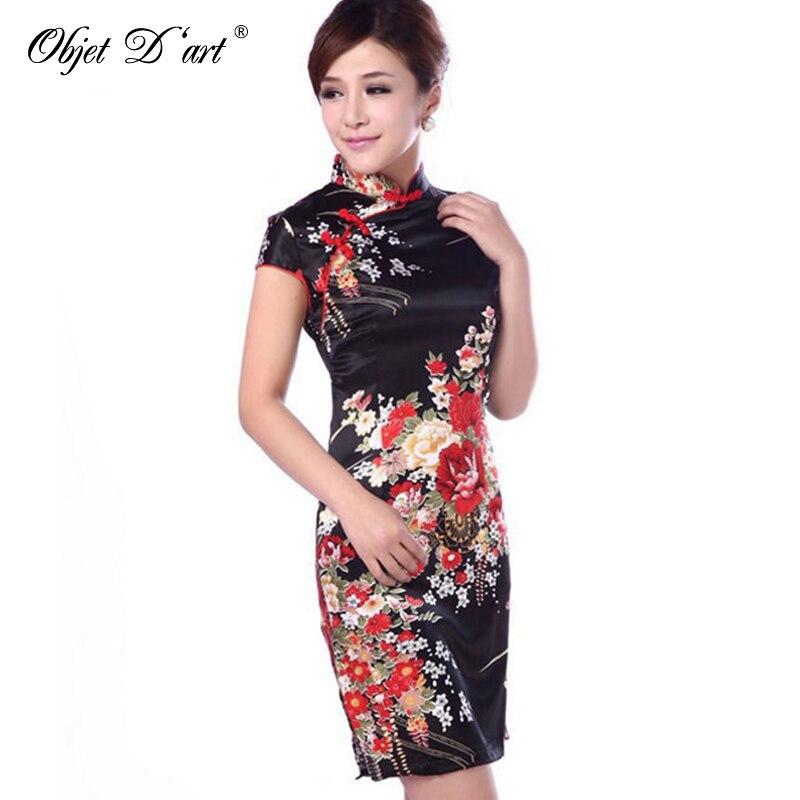 New Silk Satin Traditional Chinese Dress Women Short Sleeves Vestidos Vintage Qipao Sexy Cheongsam Flower Print Slim Party Dress