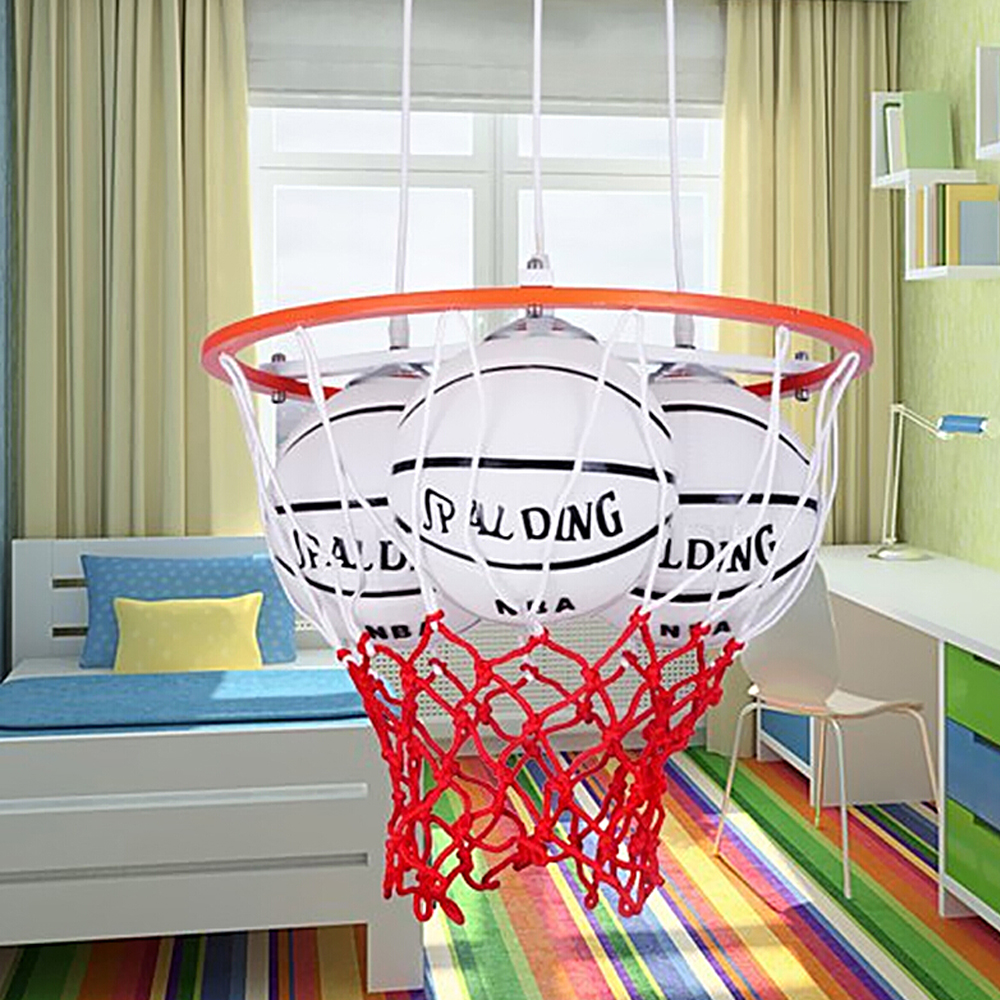 Simple Modern Personality Boy Room Basketball Led pendant lights Warm Romantic Master Bedroom Creative Wooden LED Lamps hghomeart kids led pendant lights basketball academy lights cartoon children s room bedroom lamps lighting