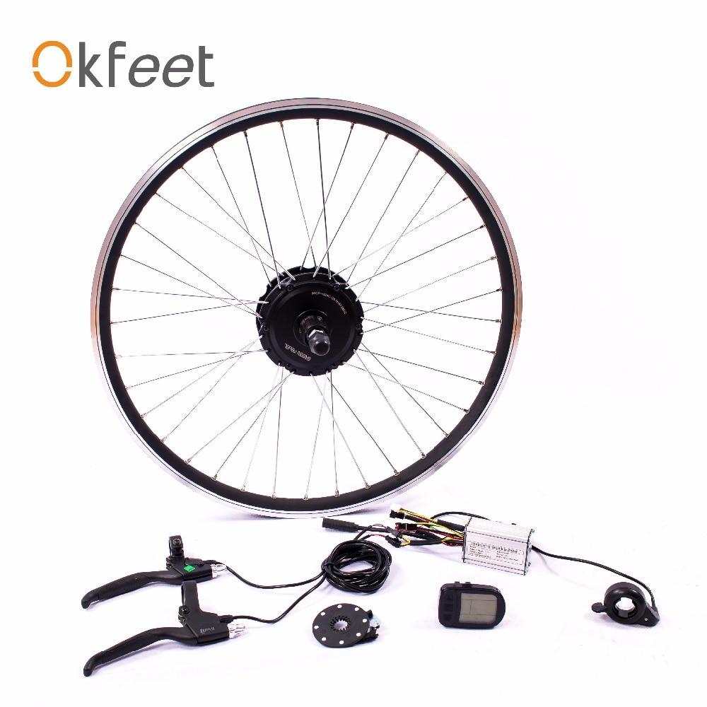 Okfeet 36 v 250 w hub moteur roue Ebike Kit pour 26 27.5 28 700C Arrière Cassette velo electrique LCD CE