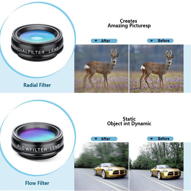 APEXEL 10in1 CellPhone Camera Lens Kit Wide Angle&Macro Lens+Fisheye Lens Telephoto Lens CPL/Flow/Star/Kaleidoscope for phones 4