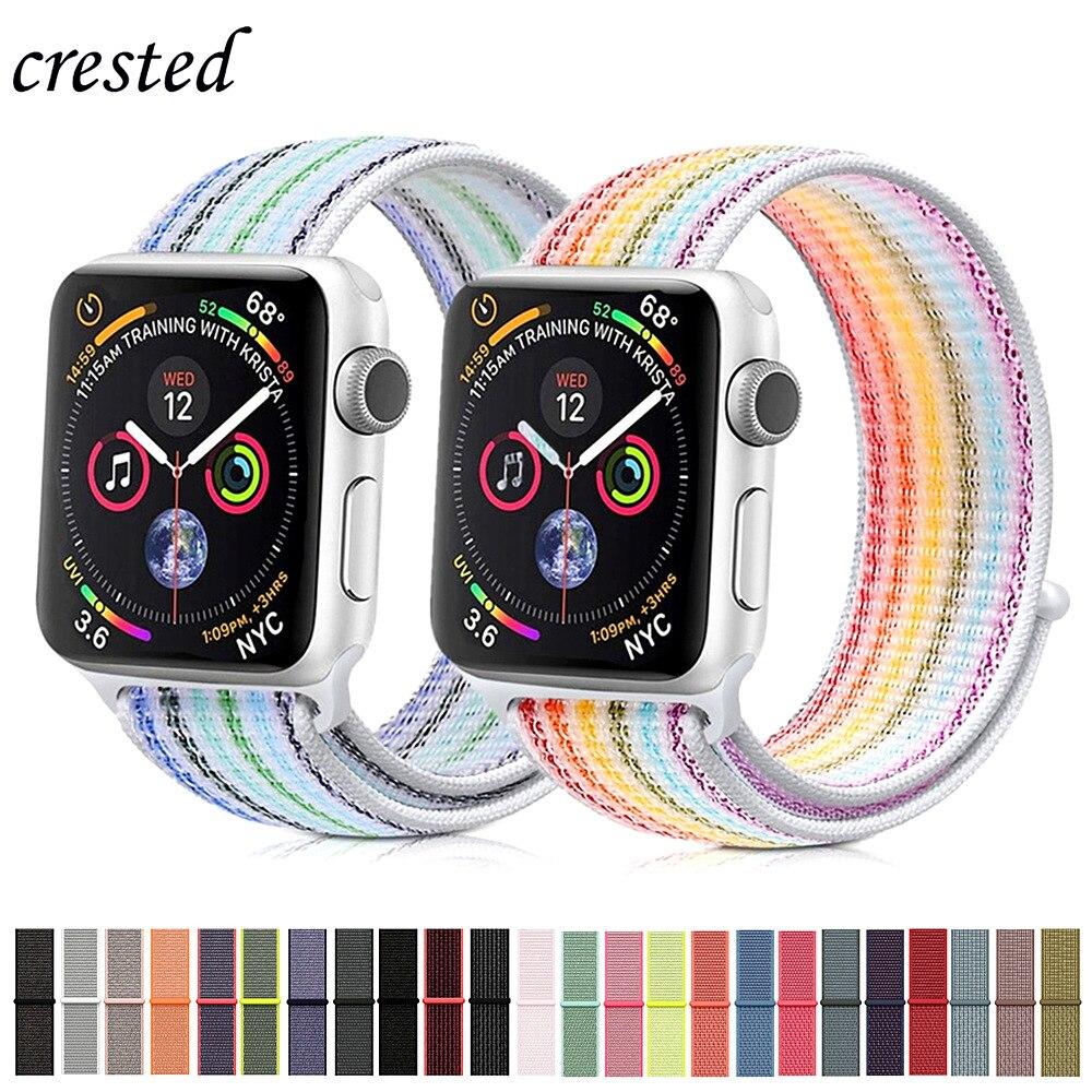 ab815b16fa2 Faixa de relógio de Nylon strap para Apple 42mm 38mm iwatch 4 banda 44mm  40mm loop de Esporte pulseira de Relógio de pulseira para o relógio Maçã 3  correa ...