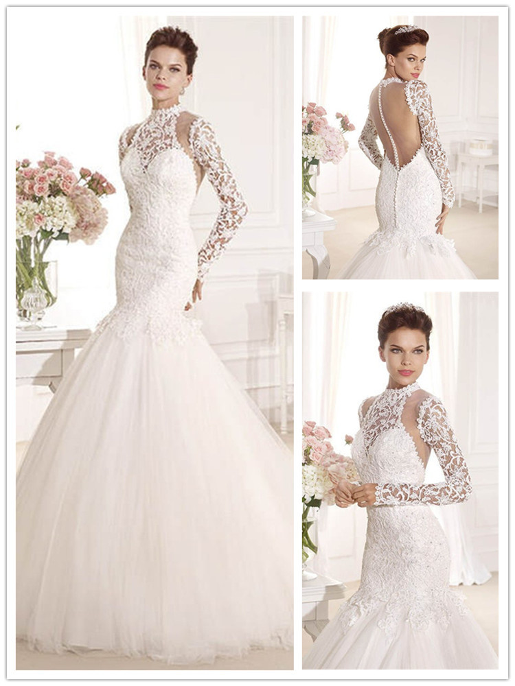 Long Sleeve Lace Wedding Dresses Buttons Down To The Back Mariage ...