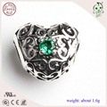 Trendy  Beautiful and Good Quality 925 Sterling Silver Hollow Heart Bead Charm
