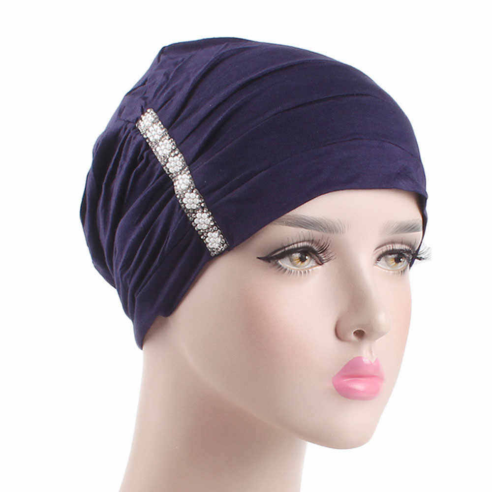 5be616e91b4 Hijab Turban Women Elastic Headband Ruffle Cancer Chemo Hair Loss Hat Beanie  Bandanas Scarf Head Wrap