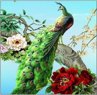 Hot Sale Peacock Embroidery Diy Diamond Painting Home Wall Pasted Sticker Painting Wall Square Drill Home