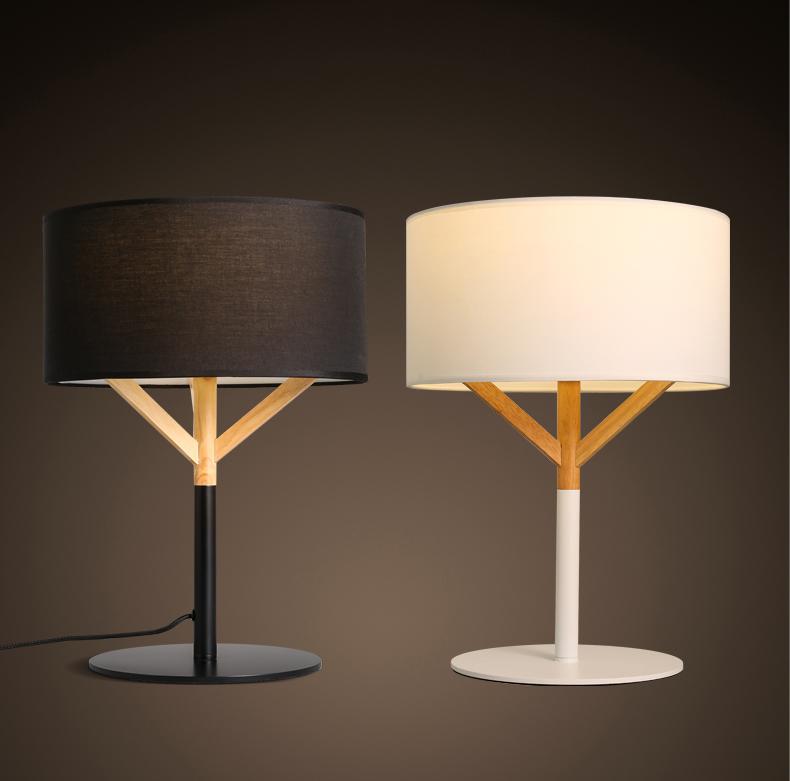 Good Lampe De Chevet Contemporaine #11: Mode Nordique Tissu Art En Bois Lampe De Chevet Contemporain Contracté  Linge Art De Tissu Chambre