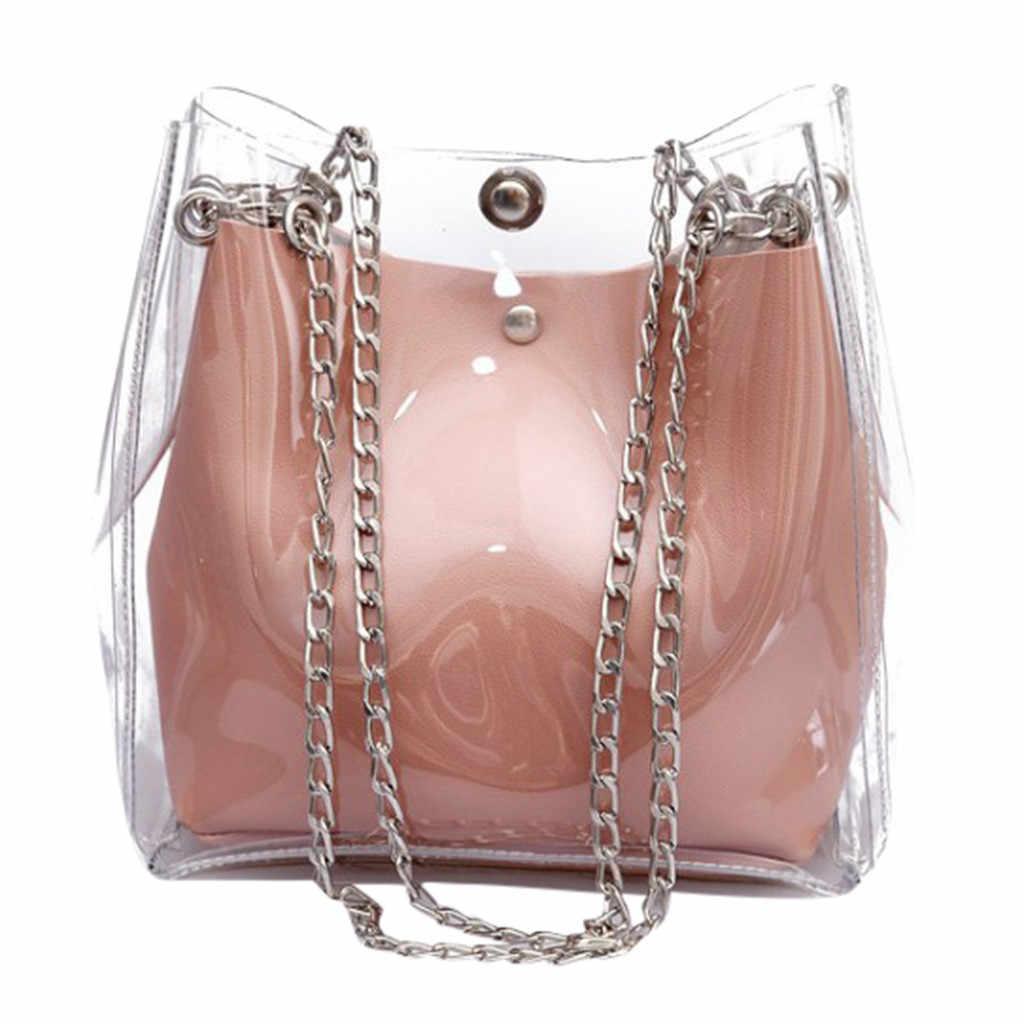7c548fa01471 Женская Маленькая прозрачная сумка, сумка на цепочке, сумка-тоут,  Комбинированная женская сумка