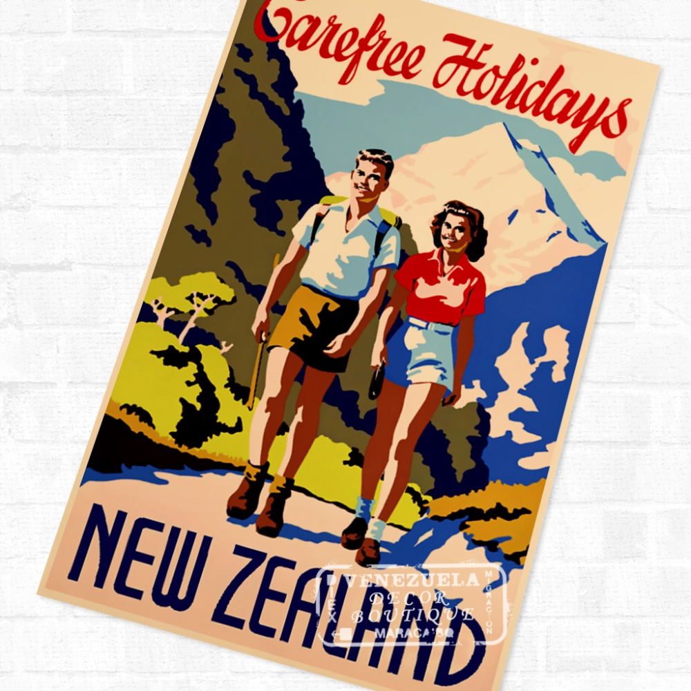 carefree holidays new zealand nz travel landscape poster vintage retro decorative diy wall stickers home posters