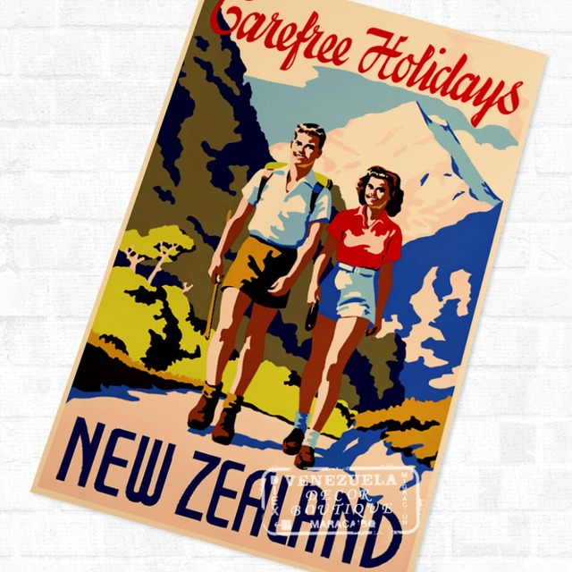 Carefree Holidays: New Zealand NZ Travel Landscape Poster Vintage Retro Decorative DIY Wall Stickers Home Posters Art Bar Decor