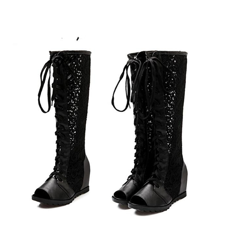 Plus size 43 Women fashion lacing Boots 2017 Summer Spring Ladies Fashion Thigh High Boots Shoes Over The Knee fish toe new 2017 spring summer women shoes pointed toe high quality brand fashion womens flats ladies plus size 41 sweet flock t179