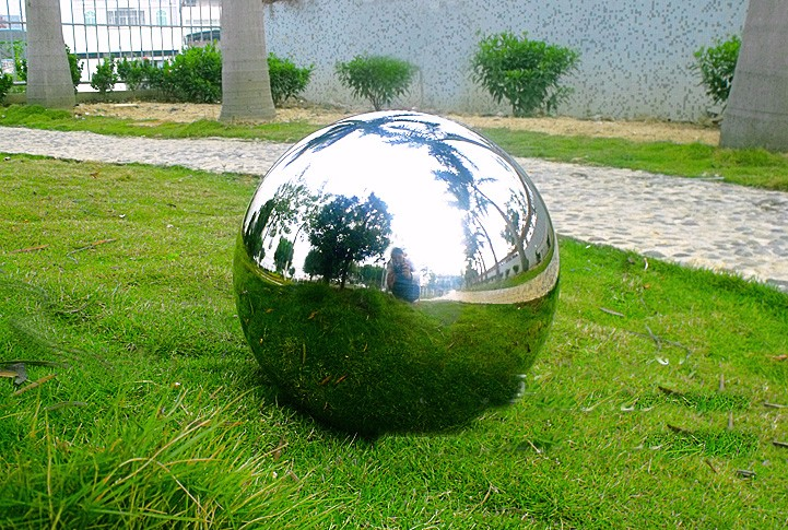 38 CM ROUND BALL Gazing Globe Stainless steel decoration ball hollow mirror light without welds float Landscape metal ball