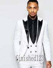 Custom Made One Button White Groom Tuxedos Black Lapel Groomsmen Best Man Wedding Prom Dinner Suits 3 Pieces blazer masculino