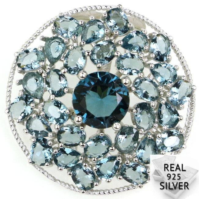 Real 925 Solid Sterling Silver 4.0g Ravishing Top London Blue Topaz CZ Ladies Pendant 27x27mm