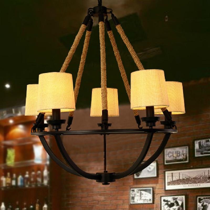 Rope Lights Kitchen: 100v 220v Loft Iron Rope Clothes Cloth Shade Pendant