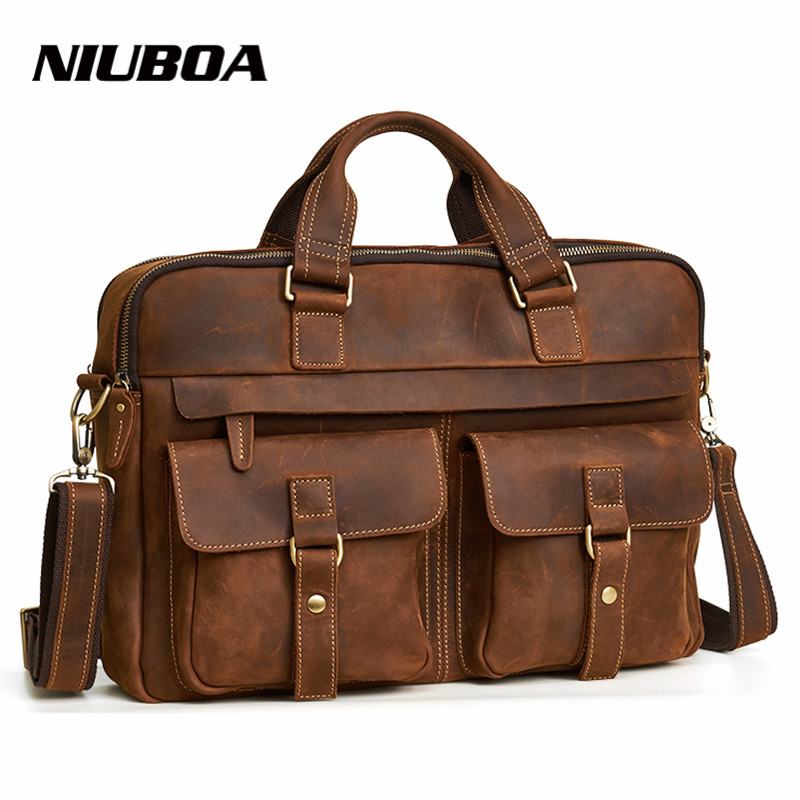 NIUBOA Genuine Leather Men Bag Handbags Briefcases Shoulder Bags Laptop Tote Men Crossbody Messenger Bags New Design Handbags цена