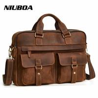 NIUBOA Genuine Leather Men Bag Handbags Briefcases Shoulder Bags Laptop Tote Men Crossbody Messenger Bags New Design Handbags
