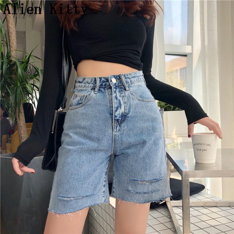 Alien Kitty Summer Loose Stylish High Waist Solid Fresh Women Plus Casual Simple Fashion Denim All-Match Hot Half-Length Shorts