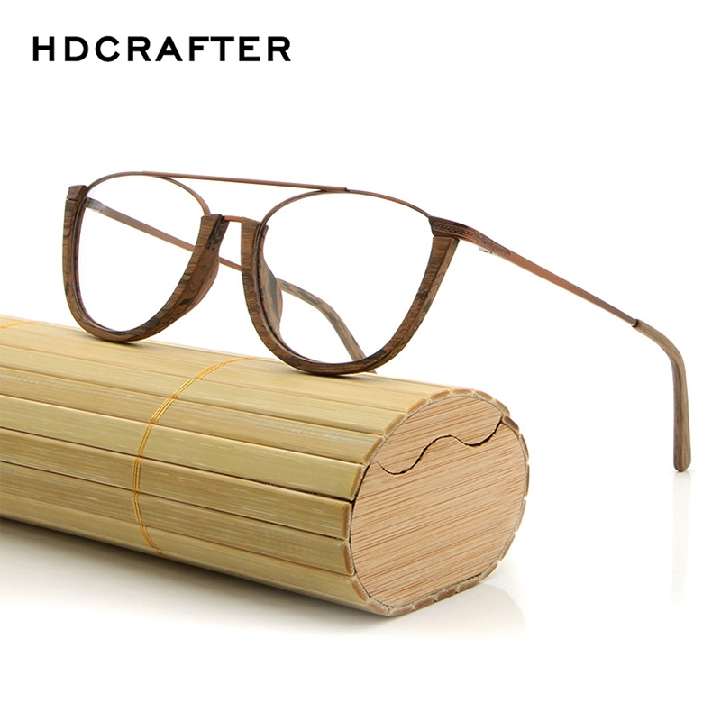 HDCRAFTER Vintage Rimless Wooden Eyeglasses Frames with Clear Lens Wood Optical Clear Glasses Eyewear Frames Men Reading Glasses