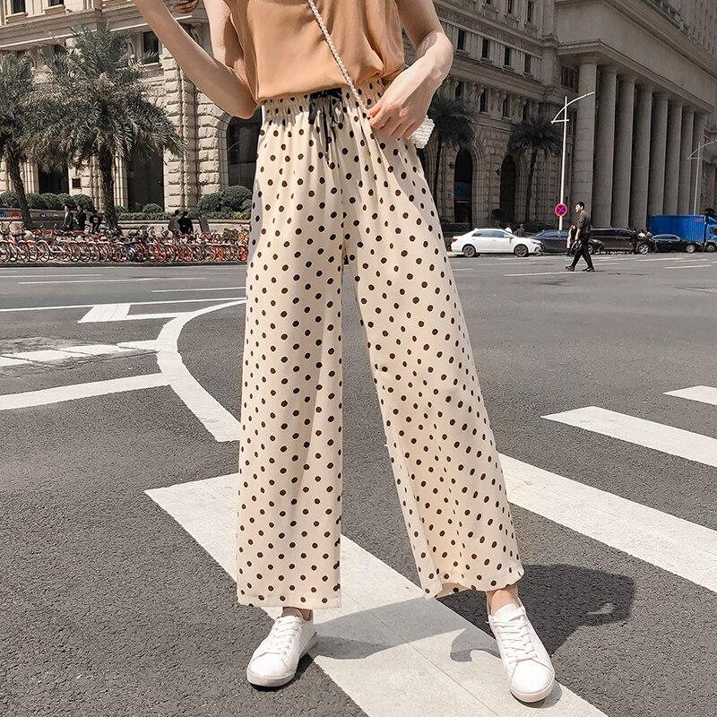 Real shot nine points beach   pants   2019 retro wave point   wide     leg     pants   female loose high waist drape chiffon   pants