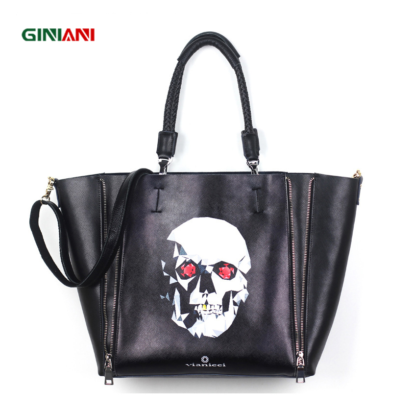 GINIANI Real Leather Female Dual Zippers Big Shopping Tote Bags Fashion Black Rock Style Skull Painting