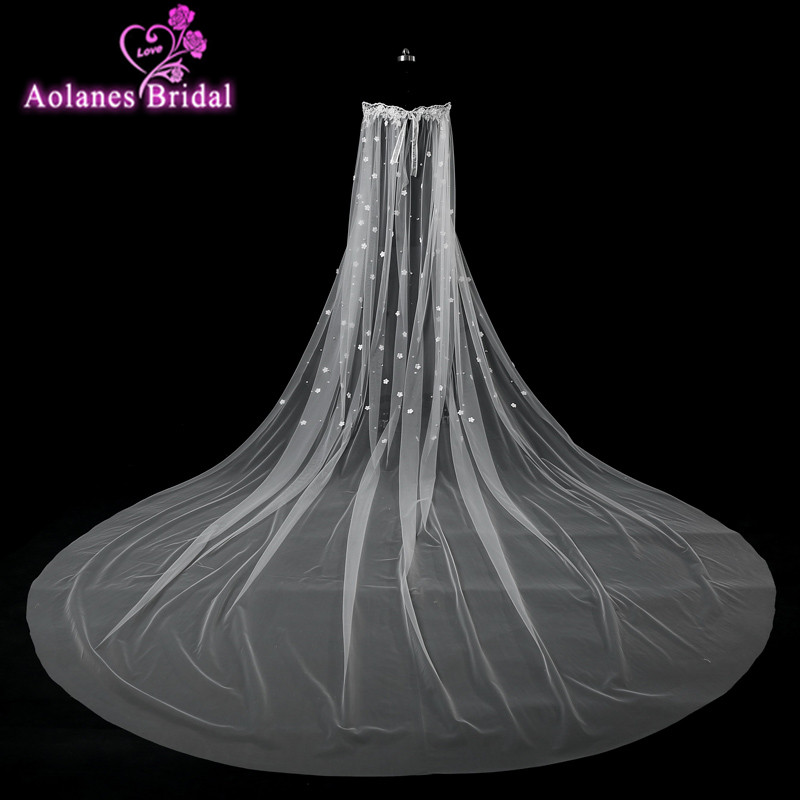 2017 Simple White Soft Tulle Long Wedding Capes Shrug