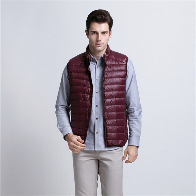 2017 autumn and winter down vest XL Men's slim stand collar casual solid color 90% white goose down fill