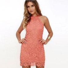 Для женщин летние пикантные Кружево платье элегантный сплошной Цвет без рукавов для девочек короткие вечерние платье Мода Bodycon Boho Для женщин мини-платье awe96