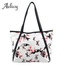 Aelicy Flower Printing Handbag High Quality Women Fashion PU Leather Tote Bucket Bag Ladies Shopping Single Shoulder Bags(China)