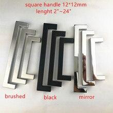 """12*12 мм квадратная ручка из нержавеющей стали, матовая черная зеркальная дверная ручка для кухни, ручка дверного шкафа """"~ 24"""""""