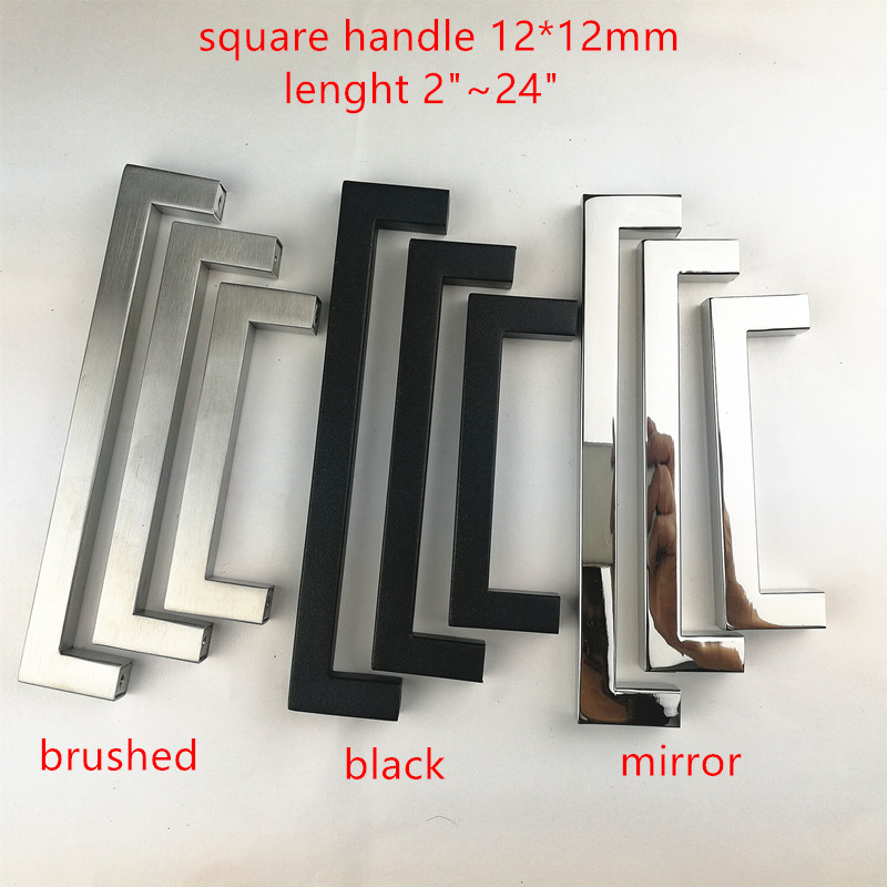 12*12mm Square Bar Stainless Steel Brushed Black Mirror Door Handle  Kitchen Door Cabinet Handle Pull Knob 2