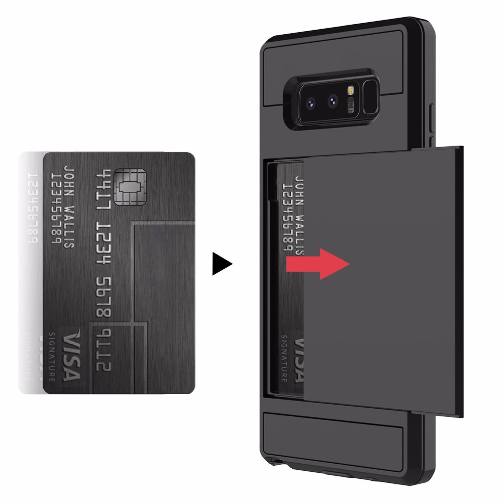 Slide Card Slot Holder Case For Samsung Galaxy S8 S10 Lite S10e S9 Plus S7 Edge Note 8 9 Hybrid Plastic TPU Silicone Cases Cover visa