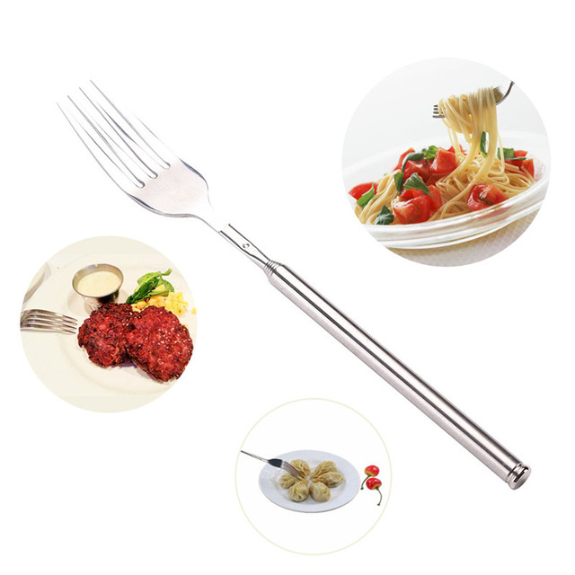 New stainless steel telescopic fork extendable fork adjustable new stainless steel telescopic fork extendable fork adjustable length bbq dinner fruit dessert forks western food forumfinder Image collections