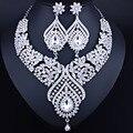 Роскошные ювелирные изделия позолоченные ожерелье и серьги набор с полным AB Стразы Кристалл Свадебные Ювелирные Наборы
