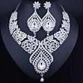 Joyería de lujo del oro collar y pendientes set completo de AB Piedras de Cristal Conjuntos de Joyas de Boda