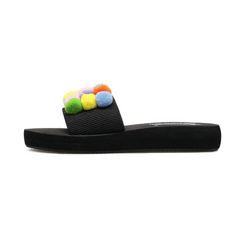 MISAKINSA Fashion Women Thick Platform Shoes Women Sweety Pompon Peep Toe Slippers Women Soft Trifle Footwear Size 35-39