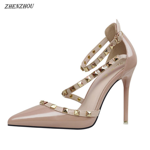 59e1e0c7848 ZHENZHOU 2018 European simple sexy nightclub thin heel high and shallow  mouth pointed rivet hollow one word with women's shoes-in Women's Pumps  from ...