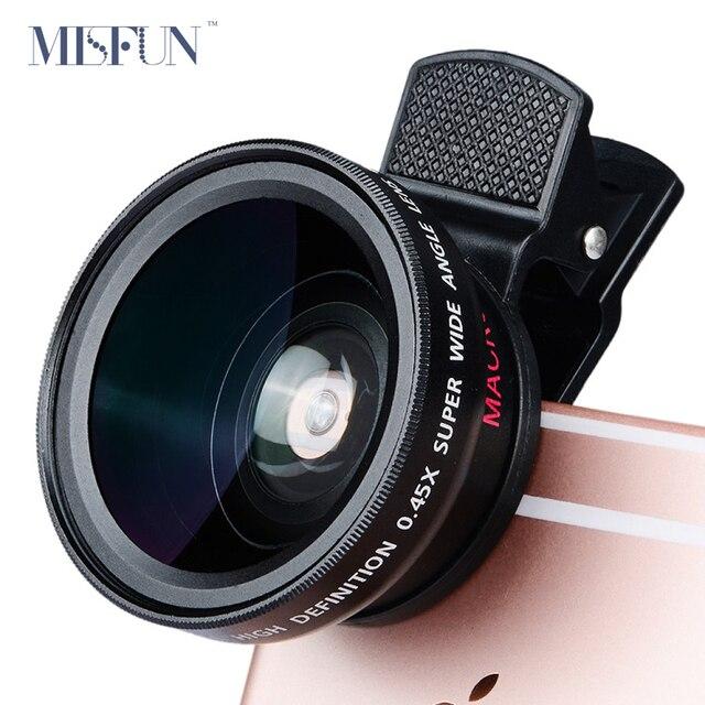 Универсальный Профессиональный HD Объектив Камеры 0.45x Супер Широкоугольный Объектив + макро-Объектив для iPhone 5s 6 6 s 7 Plus Samsung Мобильный телефон