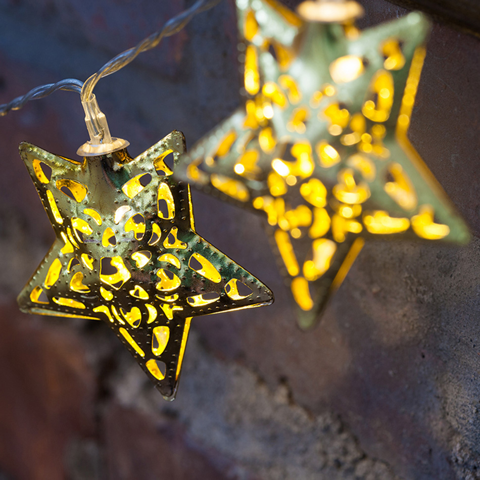 Party Decor iron star shape Battery String Lights, Outdoor Festival Star Decor Lights, Portable Christmas lighting string