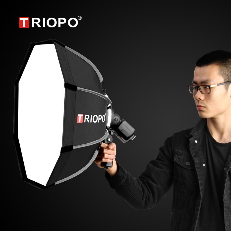 lowest price TRIOPO 65cm Foldable Softbox Octagon Soft box w Handle for Godox Yongnuo Speedlite Flash Light photography studio accessories