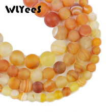 WLYee Orange Matte Stripe carnelian Natural Yellow Stone 6 8 10 mm Round Loose bead for jewelry Bracelets Making Accessories DIY