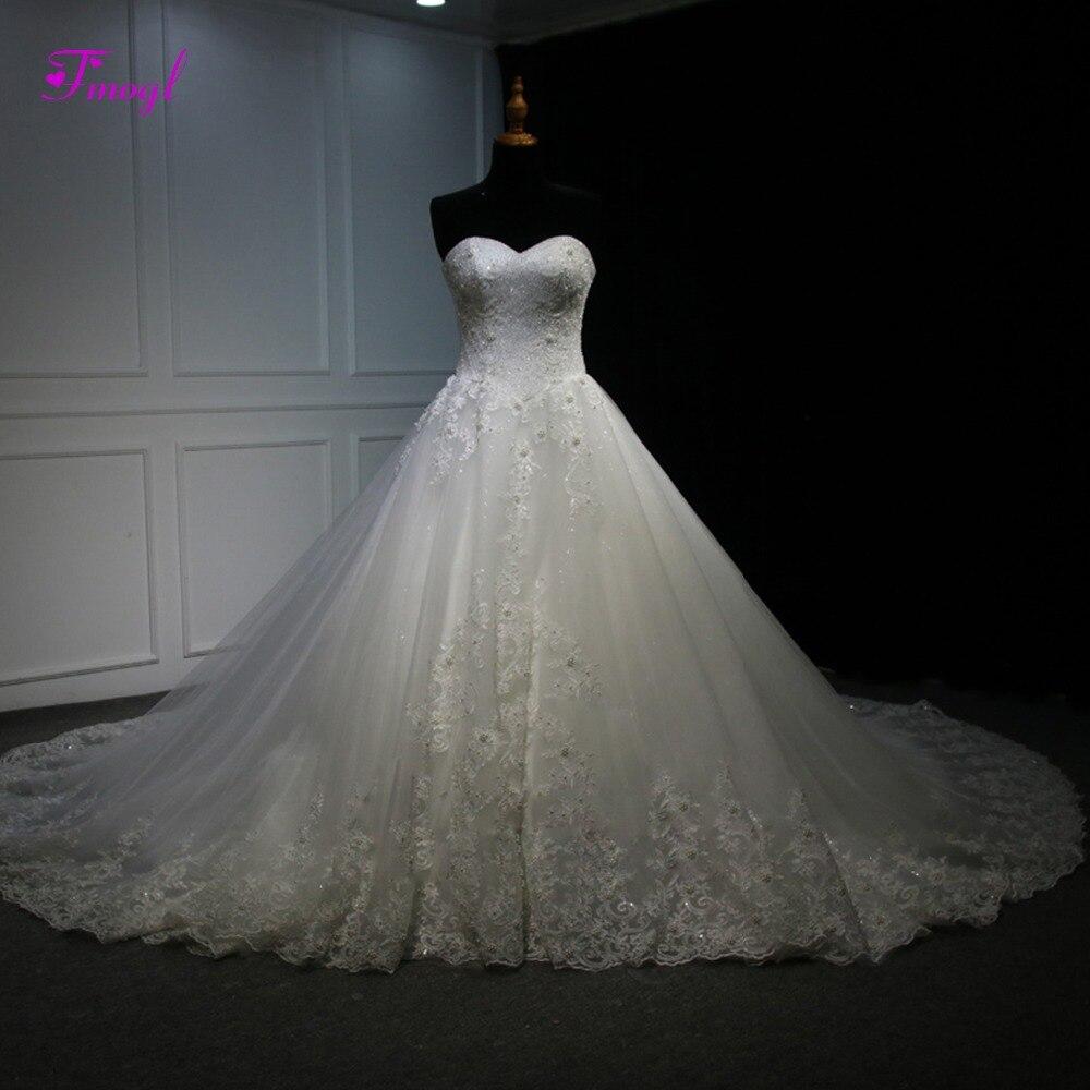 Fmogl Vestido de Noiva Appliques Chapel Train A-Line Wedding Dress 2019 New Luxury Beaded Strapless Lace Up Pearls Bridal Gown