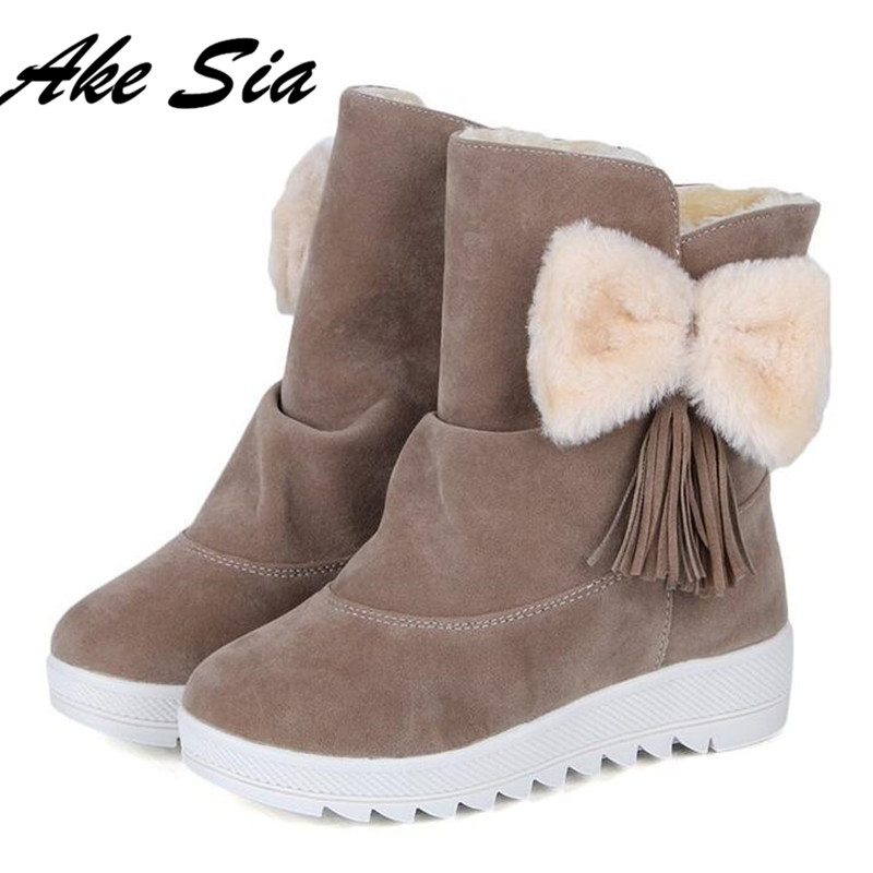 HOT New fashion fur female warm ankle boots women boots bowknot snow boots and autumn winter women shoes