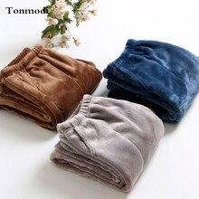 Мужские пижамные штаны, зимние теплые фланелевые плотные штаны для сна, серый/темно-синий/кофейный