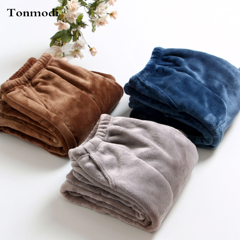 Men's Pajamas Pants Winter Warm Flannel Solid Thickening Sleep Bottoms Men Grey / Navy / Coffee