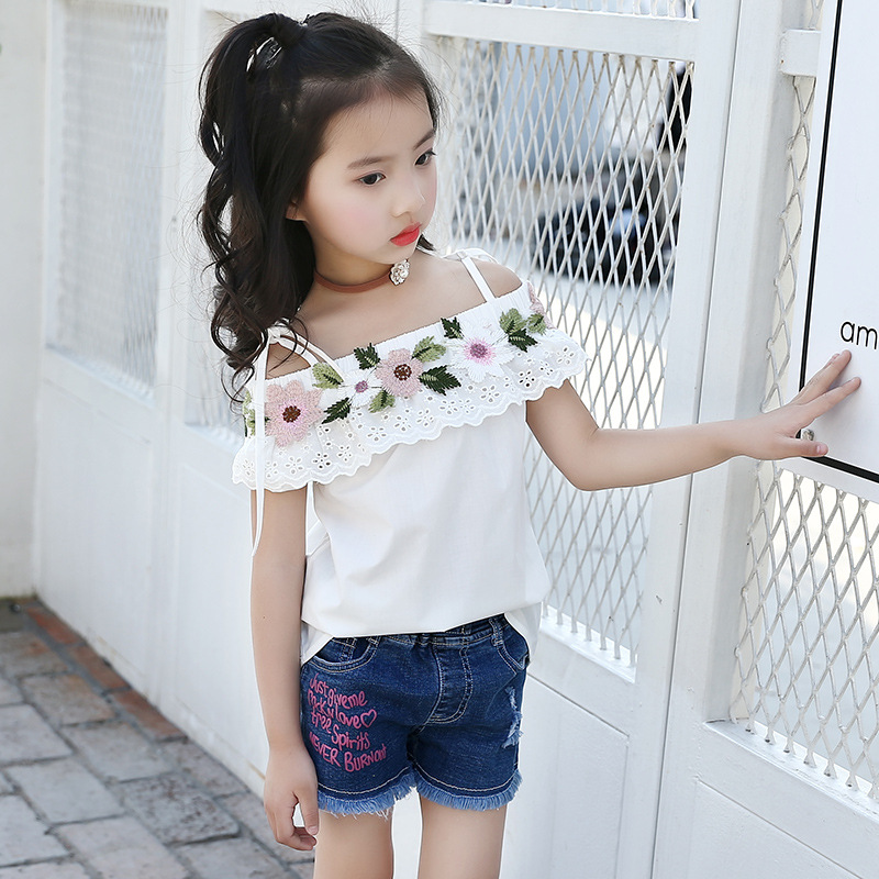 2018 New Style Summer Baby Kids Girls Sweet A Word Shoulder Embroidered Flower Sling Shirt&Blouse Girls Kids Tops Age 3-14Yrs